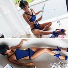 性感藍色黑邊知性條紋 露腰挖腰連身泳裝 比基尼 泳衣 橘魔法 magic G 現貨
