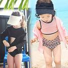 防曬長袖連帽罩衫+泳裝上衣+泳褲+泳帽 四件式 寶寶泳衣 女童 橘魔法 玩水褲 現貨 水母衣 泳衣