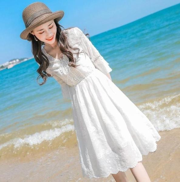 雪紡洋裝 新款小個子清新甜美仙女裙寬鬆夏季蕾絲雪紡中長款洋裝學生 雙十二全館免運