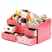 DIY四格抽屜木質化妝收納盒 木製化妝盒 組合式 收納盒