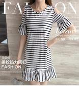 女裝連身裙喇叭袖拼接條紋顯瘦短裙短袖