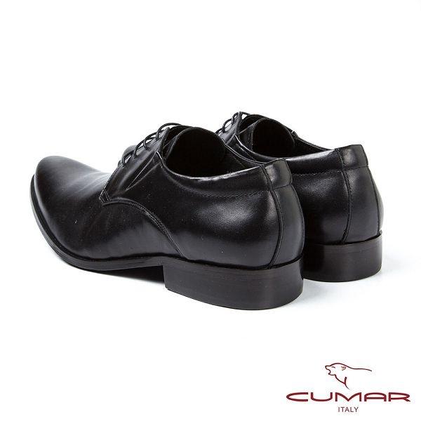 CUMAR男鞋 嚴選牛皮尖頭德比鞋-黑