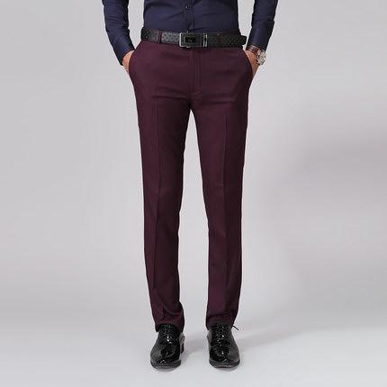 西裝褲 酒紅色男士西褲休閒韓版修身青年西裝褲男小腳純色商務正裝長褲子【【八折搶購】】