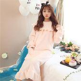 大碼睡裙  睡裙女秋冬季長袖韓版公主可愛加厚大碼長款性感珊瑚絨睡衣 宜室家居