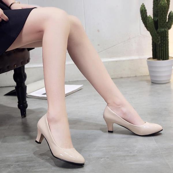 職業正裝上班黑色工作鞋女大小碼皮鞋高跟鞋中跟淺口粗跟圓頭單鞋