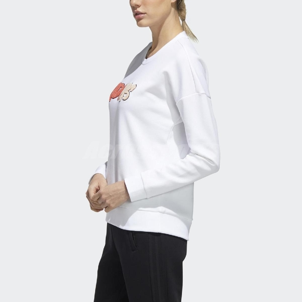 adidas 長袖T恤 Must Haves Graphic Sweatshirt 白 橘 女款 運動休閒 【ACS】 GF0167