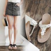 坡跟時尚拖鞋外穿夾腳涼拖鞋