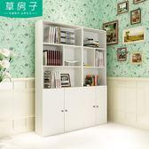 簡約現代書架書柜簡易學生書櫥桌上自由組合儲物木柜子帶門落地柜igo 極度潮客