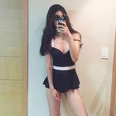 韓國時尚 黑色性感連體裙式泳衣小胸聚攏保守遮肚鋼托溫泉泳衣女