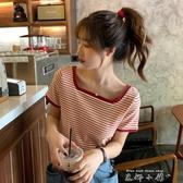 夏季2020新款網紅方領條紋T恤女超火短袖寬鬆洋氣短上衣潮時尚 米娜小鋪