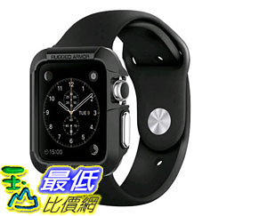 [105美國直購] 蘋果錶殼 Apple Watch Case Spigen Rugged Armor Resilient Black Include 2 Screen Protectors SGP11496