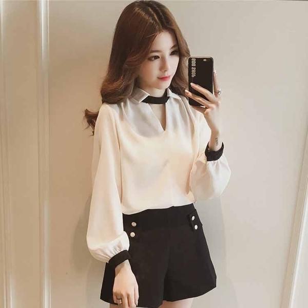 VK旗艦店 韓國風V領掛脖小心機設計皺雪紡襯衫長袖上衣