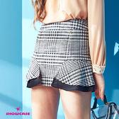 【SHOWCASE】格紋特殊剪裁拼接A字褲裙(格紋)