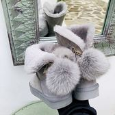 羊皮靴 保暖 毛球 棉靴 雪地靴 平底靴/2色-標準碼-夢想家-1213