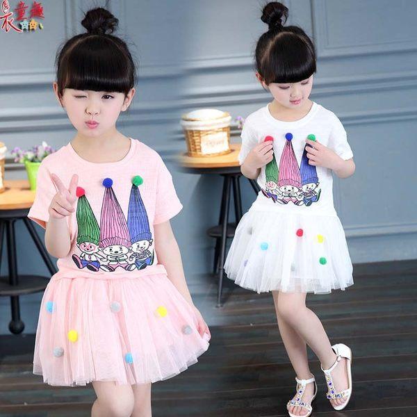 衣童趣 ♥可愛棉質小丑塗鴉T+紡紗澎澎短裙 兩件式 套裝組合 甜美款 可愛表演套裝