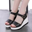 楔形鞋 紅青挺2021夏季新款女涼鞋真皮坡跟鬆糕厚底外穿高跟時尚涼拖鞋女 韓國時尚 618