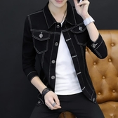 帥氣牛仔夾克男士韓版修身青少年棒球服潮男裝牛仔衣外套