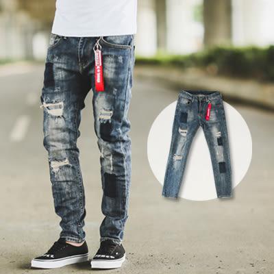 牛仔褲 方塊刷色抓破抽鬚補丁小直筒牛仔褲【NB0286J】