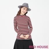 【RED HOUSE 蕾赫斯】條紋微高領上衣(共2色)