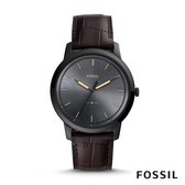 FOSSIL THE MINIMALIST 3H 極簡主義石英男錶-霧黑X咖色皮革錶帶 44MM FS5573