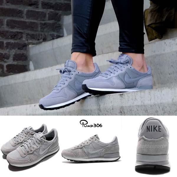 Nike 慢跑鞋 Wmns Internationalist 灰 白底 麂皮 休閒鞋 女鞋【PUMP306】 828407-004