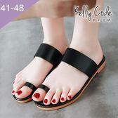 大尺碼女鞋-凱莉密碼-時尚潮流款性感簡約平底夾趾拖鞋1cm(41-48)【XL3-1】黑色