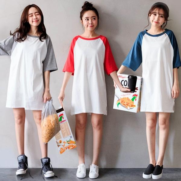 MIUSTAR 正韓‧經典不敗寬鬆版型袖配色側開衩棉質洋裝(共4色)【NH0238RE】預購