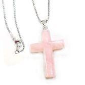 粉晶大十字架長項鍊