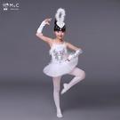 兒童演出服 兒童小天鵝芭蕾舞蹈裙演出服天鵝湖練功服少兒紗裙吊帶白色蓬蓬裙中秋節 風尚3C