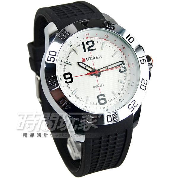 CURREN 賽車潮男時尚腕錶 男錶 大錶盤 飛行錶 學生錶 數字錶 橡膠錶帶 CU8181黑