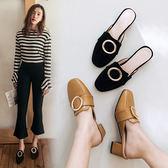 {丁果時尚}大尺碼女鞋34-43►2017春夏日系金屬皮帶扣中跟涼拖鞋3色