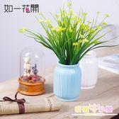 小蘭花草白色陶瓷花瓶仿真花桌花套裝小清新家居裝飾花藝書桌擺件