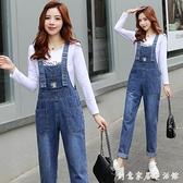 減齡小雛菊牛仔背帶褲女寬鬆春秋季新款韓版時尚洋氣小個子吊帶褲