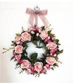 玫瑰仿真花花環假花掛飾門飾心形花環門楣