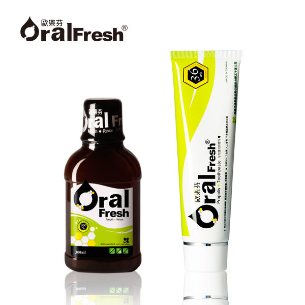 Oral Fresh 歐樂芬天然口腔保健液/漱口水300ml+牙周護理蜂膠牙膏120g