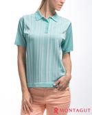 夢特嬌短袖POLO衫 亮絲系列女款知性直條紋-薄荷綠