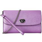 COACH F22828 女士珠光粉紫色皮質手拿包單肩斜挎包
