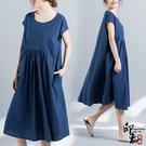快速出貨 大尺碼洋裝實拍圓領套頭寬鬆顯瘦文藝復古棉麻短袖連身裙