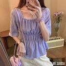 法式上衣~ 設計感小眾雪紡襯衫女夏季2021新款韓版洋氣襯衣法式方領紫色上衣