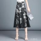 雪紡半身裙夏女新款高腰網紗半身裙中長款顯瘦碎花女裙子長裙  一米陽光