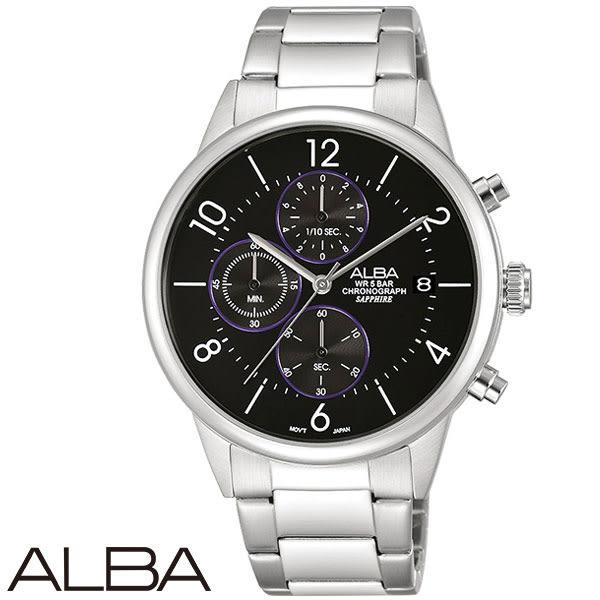 ALBA 黑紫魔幻三眼鋼帶男錶x40mm黑 AM3335X1 VD57-X079D 公司貨|名人鐘錶高雄門市