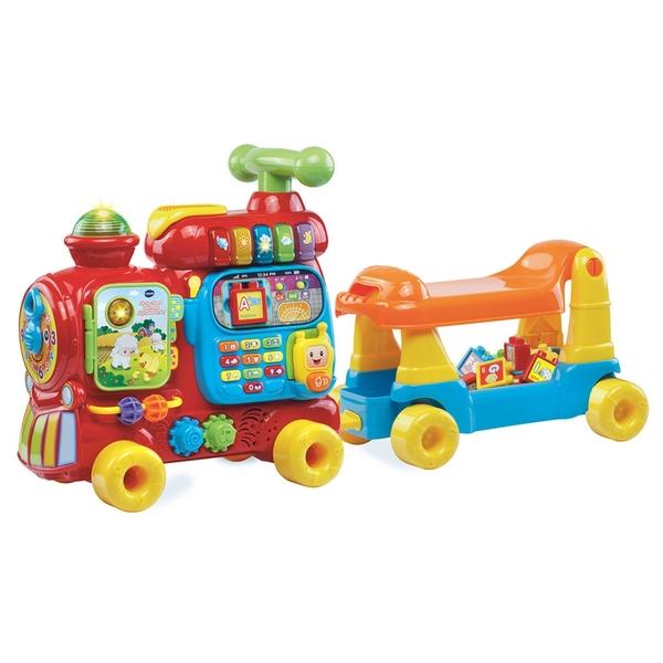 【 Vtech 聲光玩具 】4合1智慧積木學習車(紅款) / JOYBUS玩具百貨