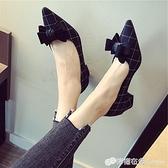 歐美風春季時尚新款女鞋大碼蝴蝶結淺口尖頭低跟女單鞋黑色 618購物節