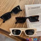太陽眼鏡 歐美復古長方形蹦迪墨鏡潮女網紅街拍太陽鏡韓版個性嘻哈眼鏡 寶貝 免運