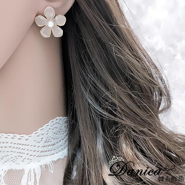 現貨 韓國女神氣質甜美百搭金屬感花朵珍珠耳環 夾式耳環 S93480 批發價 Danica 韓系飾品 韓國連線
