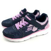 《7+1童鞋》中大童 SKECHERS 81358L/NVPK 輕量 休閒 慢跑 運動鞋 B965 藍色