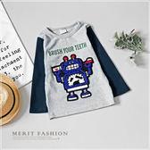 純棉 機器人牙刷毛線繡長袖上衣 可愛 韓版 拼接 長袖 上衣 圓領 棉質 秋 舒適 男童 哎北比童裝