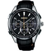 SEIKO 精工 Brightz鈦計時太陽能電波腕錶-黑/42mm 8B92-0AP0C(SAGA221J)