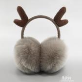 耳罩保暖耳套女冬季保暖耳捂防寒耳罩可伸縮可愛耳套圣誕鹿角耳罩【易家樂】