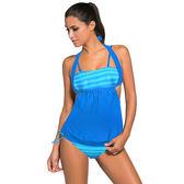 泳裝 比基尼 泳衣 條紋 拼接 鏤空 三角 大尺碼 兩件套 泳裝 L-2XL【LC41971】 BOBI  06/07